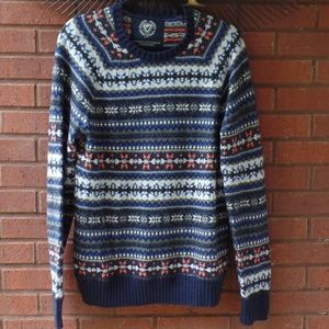 American Eagle Blue Fair Isle Sweater Medium M